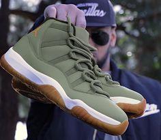 4065d392485 Custom Jordan 11 in Matte Olive Green   Gum Bottom Soles!