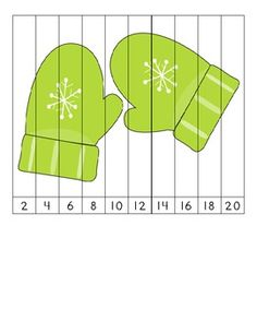 Here's a set of 3 different winter themed number order puzzles for skip counting by 2 and 5.