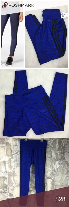 ADIDAS blue black stripe yoga running legging pant Brand new with tags. Size medium. Absolutely adorable! Super stretchy and right on trend. Adidas Pants Skinny
