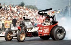 """""""Wild Willie"""" Borsch, a flamboyant drag racer in the fuel altered class."""