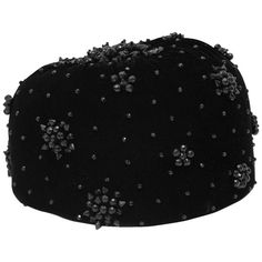 1950s Nina Ricci Black Velvet Pill Box Hat with Black Jet Beading  | From a collection of rare vintage hats at https://www.1stdibs.com/fashion/accessories/hats/