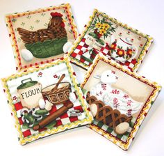 Country Kitchen/Owls Set of 4-Cinnamon & Spice Reversible Scented Drink Fabric Coasters/Candle Mat/Drawer Sachet. by vickyscottagecrafts on Etsy
