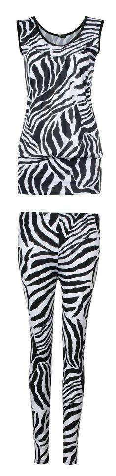 Fast Fashion Damen 2 teiliges Set Zebra Druck Ärmelloses Top Leggings: Amazon.de: Bekleidung