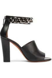 Raquel chain-embellished sandals in black leather