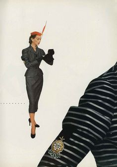 Model wearing a suit designed by Anna Miller/Earl Luck for Vogue, September 1951.
