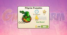 Nuova coltivazione disponibile nel Market: Pilgrim Pumpkin tempo stimato per la lettura di questo articolo 1  Nuova coltivazione disponibile nel Market dal 16/11/2017  Pilgrim Pumpkin  Livello minimo: 5  Matura in: 12 ore  Costa: 175 Coins  Fa guadagnare 5 XP  Rende: 375 Coins  Mastery: 600 / 600 / 600 (tot. 1.800)