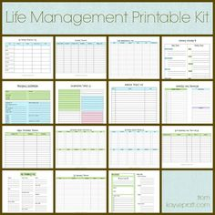 Life Management Printable Kit Includes these 15 printables: Auto Maintenance Log Account Tracker Cleaning Schedule Daily Schedule Emergency Info Exercise Log Inspirational Tidbits Master Project List Meal Planning Calendar Online Password Tracker Birthday & Anniversary Calendars Restaurants and Take Out Shopping List Spending Tracker Perfect for students, singles, married couples, and families! Cleaning Schedule Printable, Emergency Binder Free Printables, Cleaning Calendar, Cleaning Schedules, Daily Schedules, Printable Planner, Home Maintenance Schedule, Vehicle Maintenance Log, Auto Maintenance