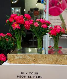 Our pick and mix peonies came in three sizes, small, medium and large. We had three vases on display to show our visitors exactly what you were getting for your money. A perfect way to display blooms at a pop up. Bloom And Wild, Flower Bar, Floral Banners, Pick And Mix, Pop Up Shops, Send Flowers, Flower Delivery, Peonies, Vases