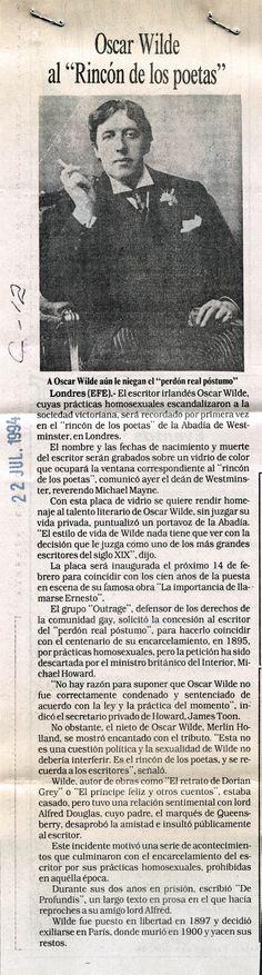 """Oscar Wilde al """"rincón de los poetas"""". Publicado el 22 de julio de 1994."""