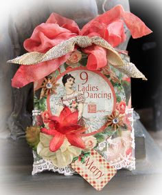 Graphic 45 12 Days Of Christmas-9 Ladies Dancing Chipboard Tag, ATC, Gift Tag, Ornament, Decoration