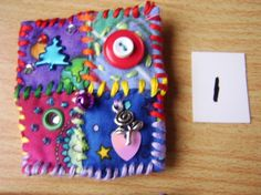 Patchwork brooch/button/pin number1 by MrsBellybuttonsfluff, $12.00