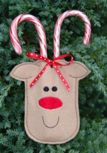 In The Hoop :: Candy & Treat Holders :: Reindeer Candy Cane Holder 4x4 - Embroidery Garden In the Hoop Machine Embroidery Designs