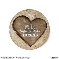 Wood Heart Rustic Wedding Classic Round Sticker
