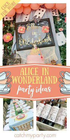 Take a look at this wonderful Alice in Wonderland 1st birthday party! The dessert table is so pretty! See more party ideas and share yours at CatchMyParty.com First Birthday Theme Girl, Boys 1st Birthday Party Ideas, Tea Party Birthday, Birthday Party Decorations, Alice In Wonderland Party, Party Fun, Party Cakes, Dessert Table, Ideas Para