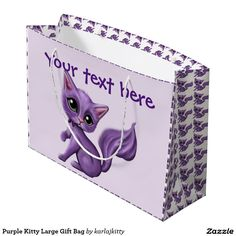 "Purple Kitty Large Gift Bag Artwork designed by karlajkitty. Made by Digiwrap  My little purple kitty on the front and back with customizable text areas.  He's also tiled on the sides and around the edges. Shown on a light lavender background with purple text. Click on ""Customize it!"" for customization options.  Artwork and design by Karlajkitty"
