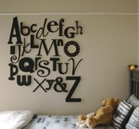 For something different, but very striking, we've created the Gigi Alphabet - a stunning collection of wooden letters that spans a huge 2.5m x 1.5m area of wall. Each letter is hand-crafted from MDF. There are several different sizes, thicknesses and fonts used to create a stunning contrast and unique finish for your wall. The full set of 27 characters come in raw finish, so you can prime and paint them any colour you choose. Attach to wall with 3M Command Picture Hanging Strips.
