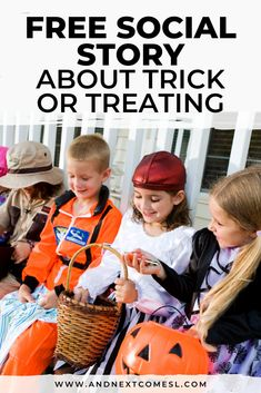 Looking for free social stories? Then you'll love this free printable Halloween social story about trick-or-treating that features full color photos. It's great for preschoolers and/or kids with autism and can be used at home or for school. Halloween Speech Therapy Activities, Social Skills Activities, Sensory Activities, Activities For Kids, Autism Learning, Autism Parenting, Social Stories Autism, Special Needs Kids, Children With Autism