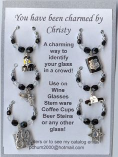 Police Themed Wine Glass Charms