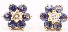 14k Solid Gold Spinel & Diamond Earrings Studs Flower Design Free Shipping e