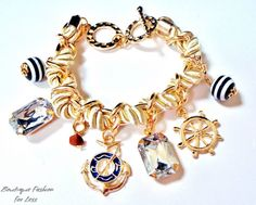 NEW Nautical Anchor Bracelet Navy Blue Cream Gold Crystal Toggle Closure Beach #FashionJewelry #Bangle
