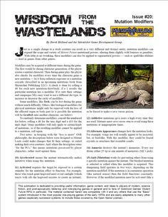 Wisdom from the Wastelands Issue #20: Mutation Modifiers - Skirmisher Publishing | Wisdom from the Wastelands (Mutant Future) | DriveThruRPG.com