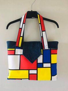 Sac Madison à carrés rouges, jaunes et bleus cousu par Gaïa - Patron Sacôtin