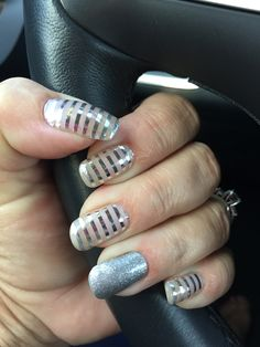 Simple, classy and blingy!!! Jamberry Wraps Metallic Silver Stripe and Diamond Dust Sparkle over natural nails!  This is one of my newest favorite Jamicure!!! #metallicsilverstripejn #diamonddustjn