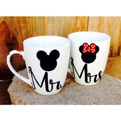 Mr. and Mrs. Mickey and Minnie mouse coffee mugs set of 2 Disney Inspired couples Wedding gift Anniversary gift. All mugs are hand painted by me so no two sets...