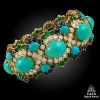 VAN CLEEF & ARPELS Diamond,Sapphire,Emerald and Turquoise Bracelet