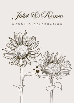 Sunflowers holding hands: DIY Wedding Invitation Printable - matching save the date and other stationery available