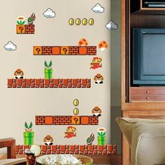 super mario wall stickers big bros vinyl for kids room removable