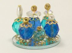 Dollhouse Miniature Perfume Bottle Collection Oceans Blue Azure Teal One Inch…