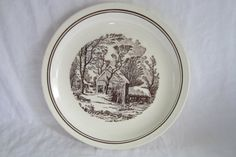 SOLD. Two Brown Transferware Dinner Plates Scenic Old Fashion Farm in Winter Farmer Horse Cows Snow Vintage