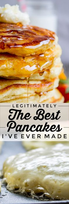 The Best Pancakes Ever. Guys, I'm not even kidding when I say I've been looking for this buttermilk pancake recipe for my entire life. They are fluffy, crispy on the edges, tender in the middle, and completely stackable. The search is over! What's For Breakfast, Breakfast Pancakes, Breakfast Items, Breakfast Dishes, Recipes For Breakfast, Dessert Dips, Sauce Creme, Pavlova, Cookies Et Biscuits