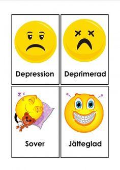 Mariaslekrum - Illustrerade känslor. Learn Swedish, Swedish Language, Smileys, Depression, Motivation, Learning, Fictional Characters, Photo Illustration, Studying
