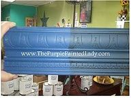 Chalk Paint Decorative Paint by Annie Sloan Napoleonic Blue.  Two coats, then one coat of clear wax over whole board and dark wax over half.