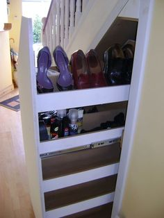 Shoe storage under stairs