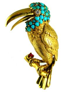 Turquoise Toucan Brooch