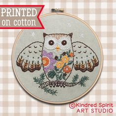 Owl Hand Embroidery Kit Bird embroidery Owl design Pre | Etsy Embroidery Hoop Art, Hand Embroidery Designs, Embroidery Patterns, Cross Stitch Patterns, Learning To Embroider, Owl Patterns, Embroidery For Beginners, Sewing Basics, Design Crafts