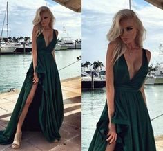 Hunter Green Elegant Long Prom Dresses Side Split V Neck Backless Evening Gowns