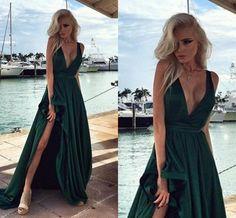2017 Custom Made Charming Chiffon Dark Green Prom Dresses,Sexy Deep V-Neck Evening Dresses,Sleeveless Prom Dresses
