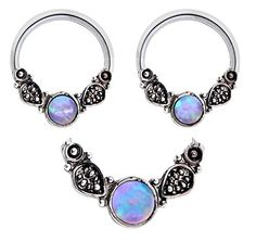 Pair of Sparkling Moonstone synthetic white Opal tribal leafs Hypoallergenic 316L Stainless Surgical Steel Captive bead Ring lip, belly, nipple, cartilage, tragus, septum, earring body Jewelry piercing hoop - 14 gauge 14g
