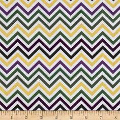 Remix Metallic Small Chevron Mardi Gras from @fabricdotcom  Designed by Anne Kelle for Robert Kaufman, this metallic chevron cotton fabric is perfect for quilting, apparel, crafts, and home decor items. Colors include green, purple, black, and metallic gold.