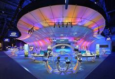 blue represent many things, good for a great trade show. you show apply blue on your booth design
