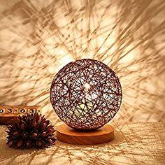 BOKT Minimalist Solid Wood Table Lamp Bedside Desk Lamp Colourful Home Decor Rattan Ball Round Lampshade (Brown) Table Lamp Wood, Solid Wood Table, Wood Lamps, Diy Home Crafts, Diy Home Decor, Bedside Desk Lamps, Colorful Lamp Shades, Luminaire Design, Minimalist Decor