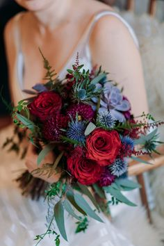 willow flower co wedding bouquet with reds, purples & greenery from a wedding at. - willow flower co wedding bouquet with reds, purples & greenery from a wedding at Mount Engadine Lod - Wedding Flower Guide, Red Bouquet Wedding, Red Flower Bouquet, Red Wedding Flowers, Diy Wedding, Red Purple Wedding, Geek Wedding, Wedding Rings, Wedding Black