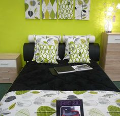 lime green bedroom ideas with wooden cabinet