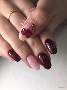 54 ideas nails maroon style for 2019 Fruit Nail Designs, Pink Nail Designs, Beautiful Nail Designs, Acrylic Nail Designs, Acrylic Nails, Manicure, Diy Nails, Matte Nails Glitter, Finger