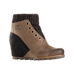 Women's Sorel Joanie Sweater Bootie ($172) ❤ liked on Polyvore featuring shoes, boots, ankle booties, black, casual, leather boots, ankle boots, wedge booties, black leather booties and black high heel booties