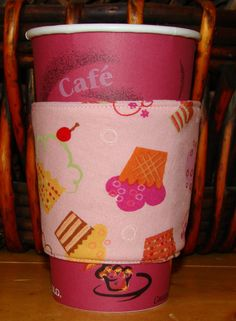 Cupcakes Reusable Fabric Coffee Cozy by MyCozyCabinCreations, $4.00
